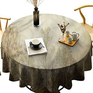 Round Printed Tablecloth Polyester Washable Table Cover, Wrinkle Free Trees Rural Forest Scenery Diameter 60 inch Tabletop...
