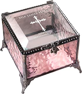 Baptism Gift for Girls Personalized Keepsake Box Pink Stained Glass Engraved Jewelry J Devlin Box 903 EB222 (Pink)