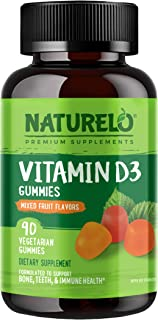 NATURELO Vitamin D3 Gummies for Adults (3000 IU) – Non-GMO, Vegetarian, Whole Food - Best Natural D3 Supplement for Bone, ...