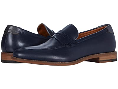 Johnston & Murphy Milliken Penny (Navy Full Grain) Men