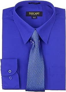 Men's Royal Blue Regular-fit Long-Sleeve Dress Shirt with Mystery Tie Set 15.5'' Neck 32-33'' Sleeve, Royal Blue