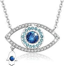 MEGA CREATIVE JEWELRY Blue Evil Eye and Hamsa Hand Pendant Necklace Crystal from Swarovski