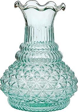 Luna Bazaar Vintage Glass Vase - 5.75-in Sophia Ruffled Genie Design, Vintage Green - Home Decor Flower Vase - Decorative Din