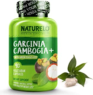 NATURELO Garcinia Cambogia Weight Loss Management - 100% Natural Supplement with Pure Garcinia Cambogia, Ketones, Forskolin, Green Tea, Guarana - Thermogenic Fat Burner - 90 Vegan Capsules