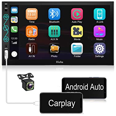 Hieha Bluetooth Car Stereo Compatible with Apple CarPlay and Android Auto, 7 Inch Touch Screen Double Din Car Radio Receiver Digital Multimedia Video Receiver with Phone Mirroring Rear View Camera