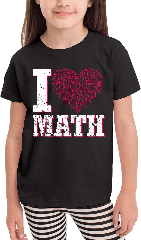 I Love Math Children's T-Shirt,Short Sleeve Cotton Shirts Boys Girls Tee Tops for Summer