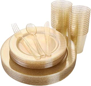 150 Pieces Gold Disposable Plates & Plastic Silverware & Cups, Gold Glitter Dinnerware Set : 25 Dinner Plates 10.25 inch, 25 Dessert PLates 7.5 inch, 25 Tumblers 9 oZ, 25 Forks, 25 Knives, 25 Spoons