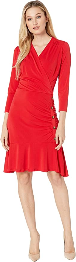 3/4 Sleeve Side Ruched Jersey Dress with Button Details