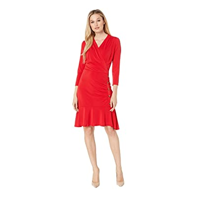eci 3/4 Sleeve Side Ruched Jersey Dress with Button Details (Red) Women
