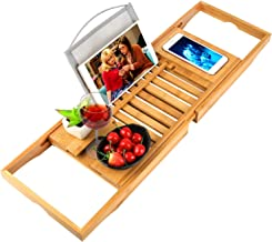 oobest Bathtub Tray Bamboo Bathtub Caddy Tray with Extending Sides Adjustable Book Holder..