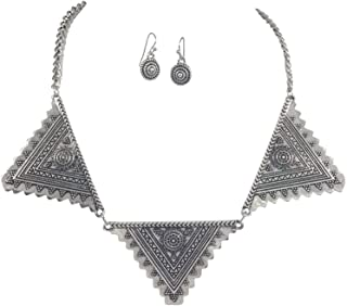 Tribal Triangles Boutique Style Trendy Necklace & Earrings Set