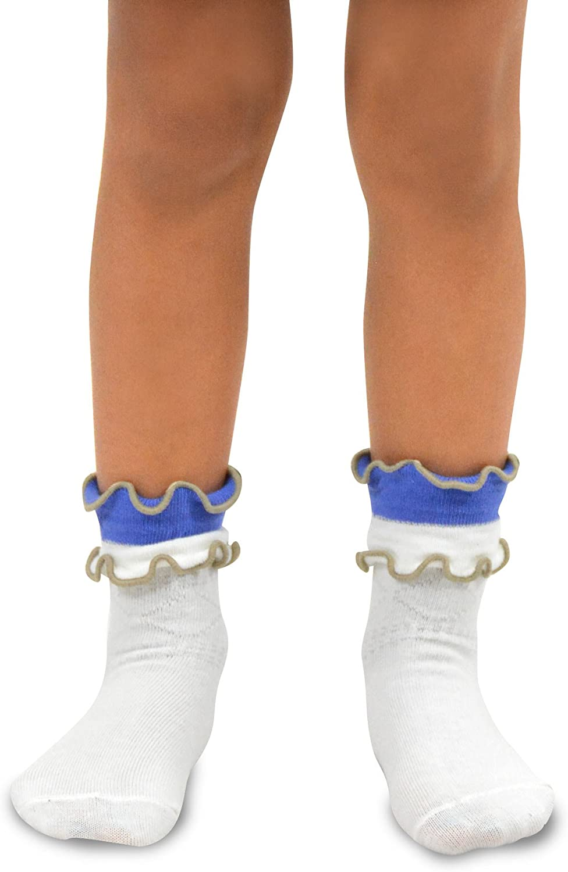 TeeHee Little Girls Cotton Crew Overlock Top Ruffle Socks 6 Pair Pack (6-8 Years, Basic)