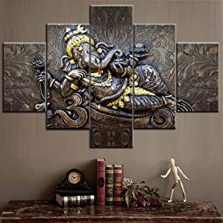 Ganesh Poster and Prints on Canvas Indian Pictures Hindu Lord God Ganesh Paintings 5 Pcs/Multi Panel Wall Art Contemporary Artwork Home Decor for Living Room Wooden Framed Ready to Hang(60''Wx40''H)