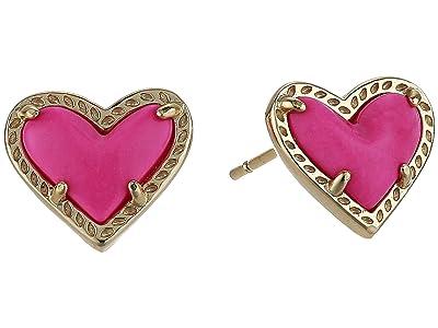 Kendra Scott Ari Heart Stud Earrings (Gold Magenta Magnesite) Earring