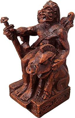 Dryad Design Seated Norse God Freyr Statue Wood Finish