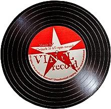 Carvapet Rock Star Music Record LP Vinyl Retro Black CD Non-Slip Creative Design Round Area Rug, Red/White, 2'7