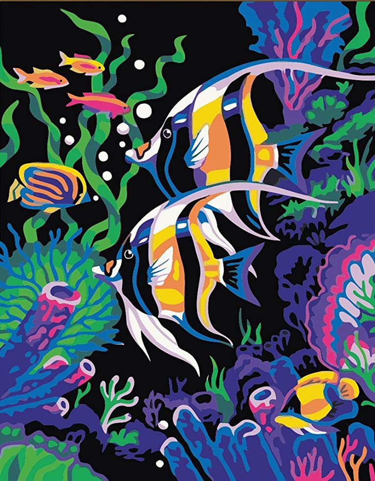 CaptainCrafts New Paint by Number Kits - Seabed Fishs 16x20 inch - Diy Painting by Numbers for Adults Beginner Kids (Frameless)