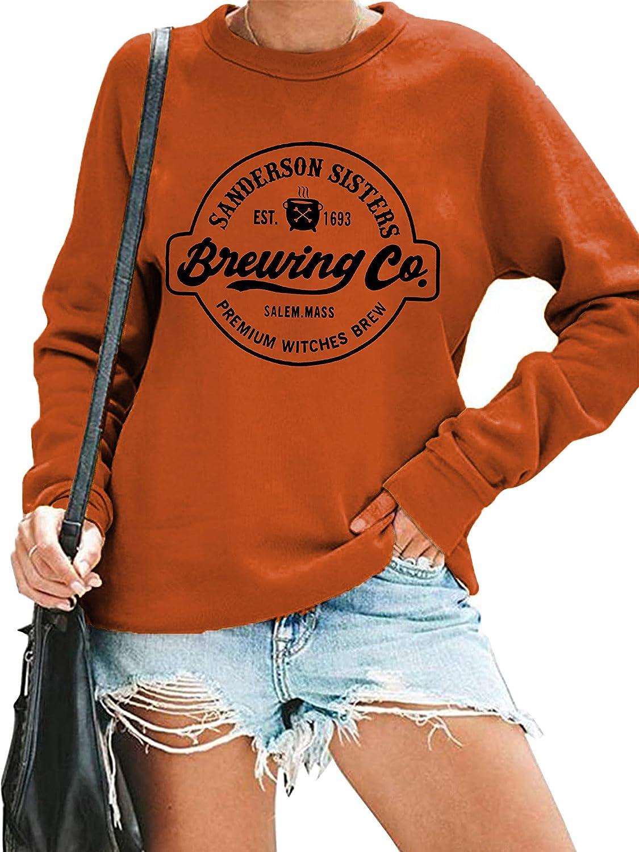 Halloween Sweatshirt Women Hocus Pocus Long Sleeve Shirts Sanderson Sisters Graphic Pullover Tops Blouse