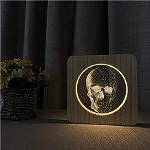 Skull Head 3D USB LED Lámpara de mesa de noche de acrílico Mesa Luz de noche Talla Lámpara de mesa Regalo para niños Decoración de la habitación