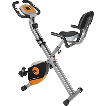 SONGMICS Bicicleta de Ejercicio, Bicicleta Estática, Bicicleta Fitness en Casa, Plegable con Respaldo, Sensor de Pulso, 8 Niveles de Resistencia ...