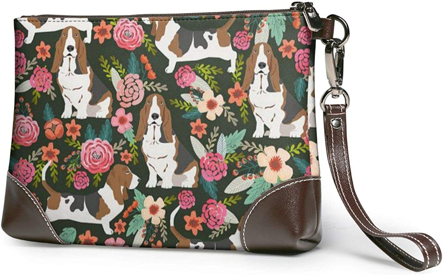 Dog Printed Women'S Wristlet Handbags Purses Wallets Evening Leather Clutch Bags 8in X 5.5in X 1.5in