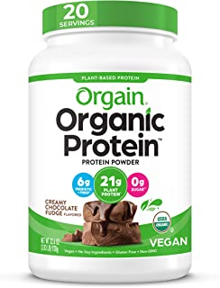 Orgain Organic Plant Based Protein Powder, Creamy Chocolate Fudge - Vegan, Low Net Carbs, Non Dairy, Gluten Free, No Sugar...