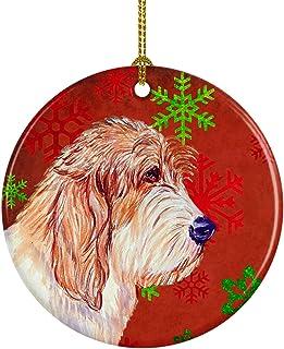 Caroline's Treasures LH9352-CO1 Petit Basset Griffon Vendeen Red Snowflake Holiday Christmas Ceramic Ornament, Multicolor