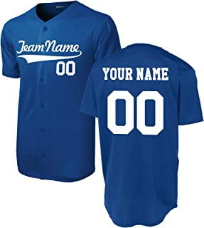 Custom Short-Sleeve Button-Down Baseball/Softball Jersey (Unisex, Adult Sizes) - Add Your Team, Name, Number