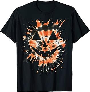 Orange Tie Dye Jack O Lantern Face - Hippie Halloween T-Shirt