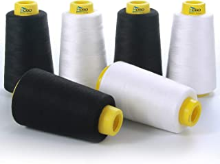 Serger Thread,Sewing Thread, All Purpose 100% Polyester Thread, White & Black 6 Pack of 3000 Yard Each Spool (Upholstery, ...