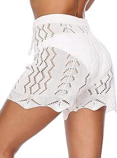 a57e854300 Julier Womens Cover Up Pants Sexy Hollow Out Crochet High Waist Mesh Beach  Bikini Swimsuits Pants