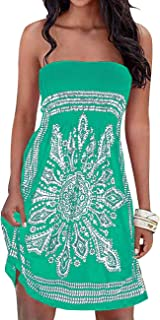 Imagine Women's Summer Dress Strapless Floral Print Bohemian Casual Beach Dress Cover Ups for Swimwear Women