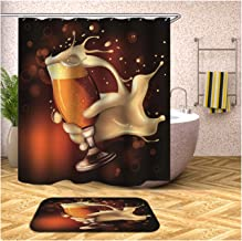 Epinki Polyester Shower Curtain Decorative Bathroom Accessories Orange Beer Bathroom Curtain with 12 Hooks 180x180CM