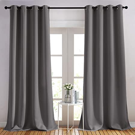 Amazon Com Nicetown Bedroom Blackout Curtains Panels Triple Weave Energy Saving Thermal Insulated Solid Grommet Blackout Draperies For Patio 1 Pair 52 Inches By 95 Inch Grey Kitchen Dining
