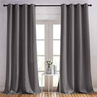 NICETOWN Bedroom Blackout Curtains Panels - (52 inches by 108 Inch, Grey, Set of 2) Triple Weave Energy Saving Thermal Ins...