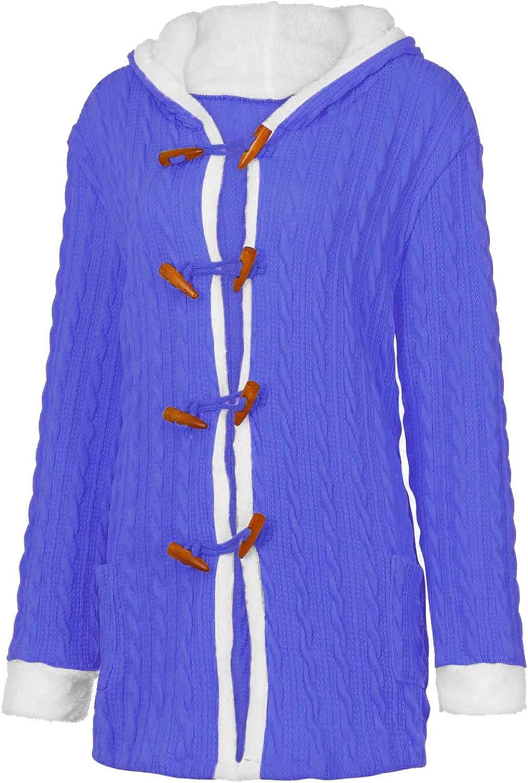 Kobay-Damen Winter Jacke Pullover Mantel Hoodie Winterparka Kurz Jeansjacke Mantel Baumwolljacke Winterjacke Cardigan mit Kapuze Blau