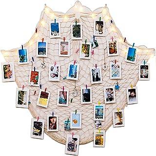 Fashion HW - Juego de 40 marcos de fotos de cartón con clips de madera y cuerdas, color blanco y negro, 10 x 15 cm, se adapta a imágenes de 10 x 15 cm