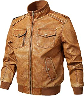 Men's Vintage Stand Collar Biker Leather Jacket Distressed Classic Motorcycle PU Faux Leather Outwear