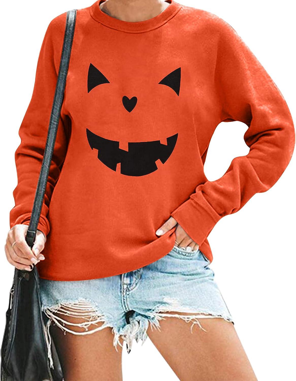 Halloween Pumpkin Face Sweatshirts Womens Jack O' Lantern Pumpkin Pullover Cute pumpkin Long Sleeve Shirt