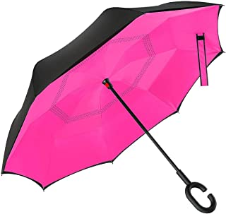 Dopobo Double Layer Inverted Umbrella Cars Reverse Umbrella Extremely Waterproof and Windproof Inverted Umbrella with C-Sh...