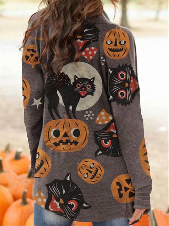 HAM Women's Pumpkin Cat Cardigan Halloween Long Sleeve Open Front Outerwear Coat Plus Size Sweatshirt.