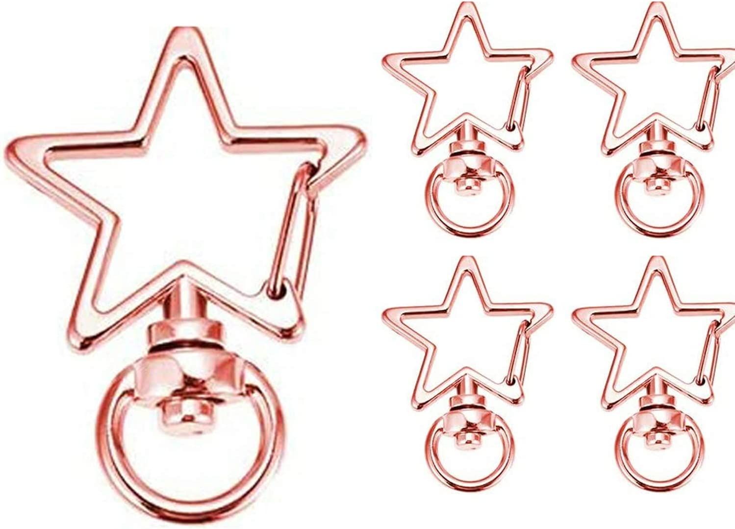 //Silver Heart Shape+Ring 50 pc- Nanum 50//100-Pcs Metal Swivel Lobster Clasp Snap Hook Star Shape with Key Rings,Suieable for Make Keychain Pendants,Luggage Pendants and Other Accessories