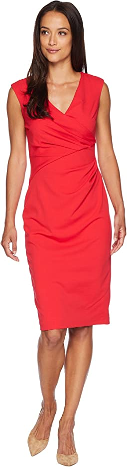 Knit Crepe Draped Sheath Dress