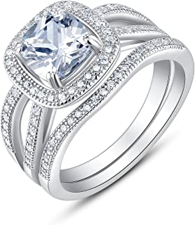 BL Jewelry Sterling Silver Split Shank Cushion Cut Cubic Zirconia Bridal Engagement Wedding Rings Set