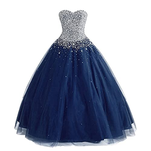 b15280be015 ZVOCY Women s Tulle Beaded Quinceanera Dress Ball Gown Prom Dress Long Plus  Size