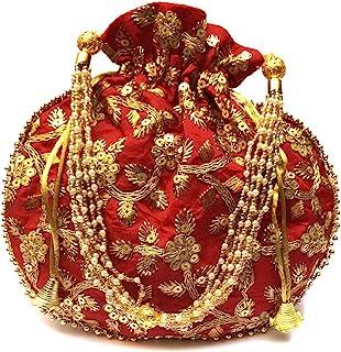 4EVER Velvet Potli for Women's   Designer Rajasthani Style Royal Clutch Silk Batwa Bag   Zari Work Potli