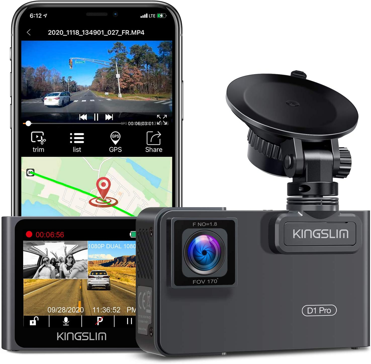 Kingslim D1 Pro Overseas parallel import regular item 2K Dual Dash 1080P GPS Cam Mail order Front with Wi-Fi