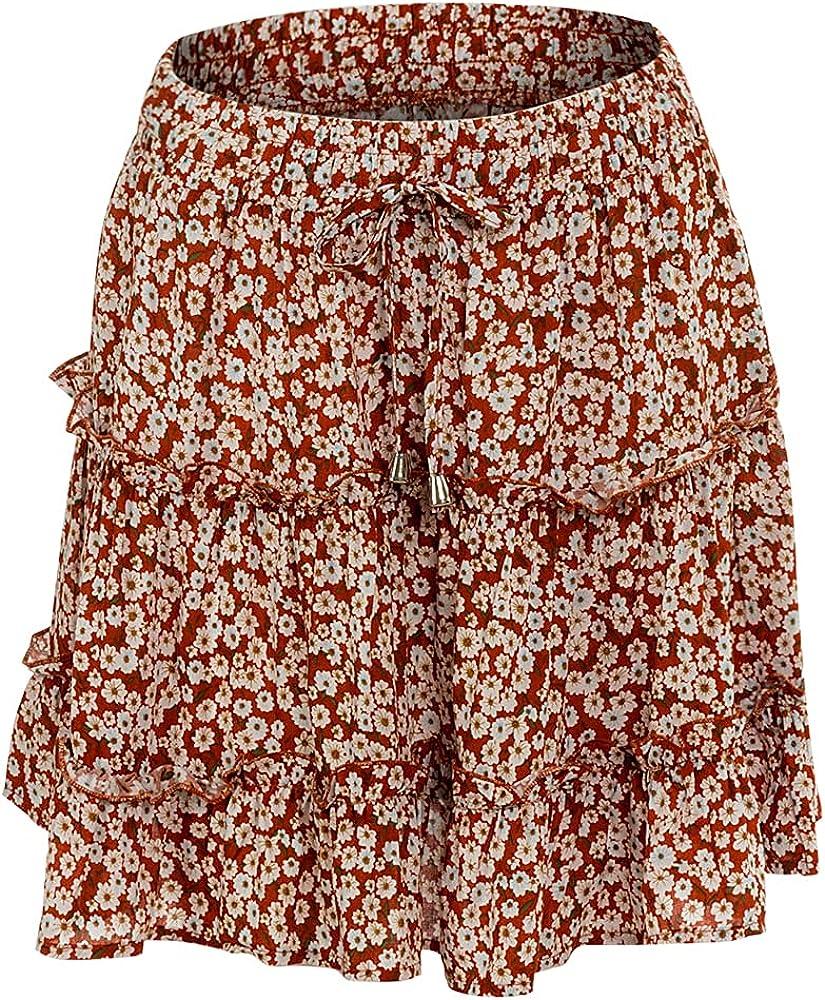 LUAN Women Flared Short Skirt Floral Print Beach Mini Tropical Skirt for Beach, Casual, Travel, Party