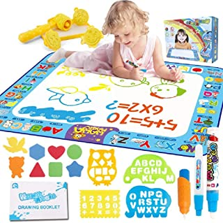 "Magic Doodle Mat Kid Toys, 40"" x 30"" Large Water Doodle Drawing Mat Mess Free Coloring Mats with 19 Accessories, Education..."