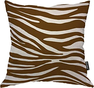 Moslion Striped Pillows Brown White Stripes Animal Zebra Skin Leopard Throw Pillow Cover Decorative Pillow Case Square Cushion Accent Cotton Linen Home 18x18 Inch